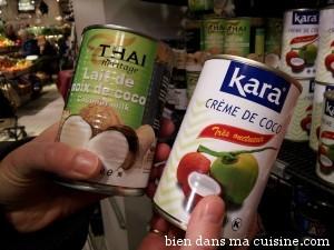 lait et crème coco