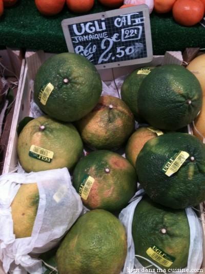 Ugli : un agrume vraiment moche (d'ailleurs c'est son nom, augli = laid en anglais)... mais délicieux !