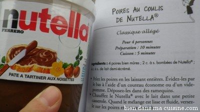 poires au coulis de Nutella