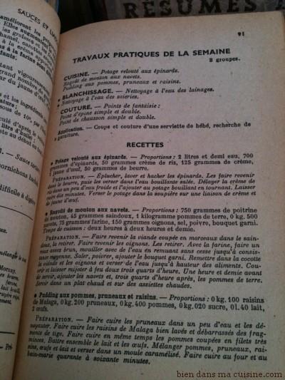 travaux pratiques de la semaine  les recettes de potage, ragoût, pudding