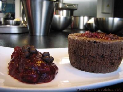 dessert fondant au chocolat cranberry