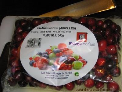 sachet cranberries fraîches