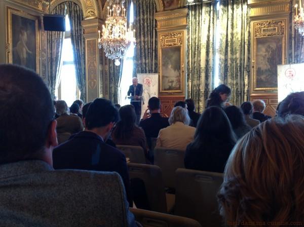 """Alain Ducasse au lancement de """"Tous au restaurant"""", Paris 2013."""