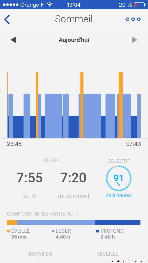 Presque 100% de l'objectif atteint pour le sommeil... pas mal !