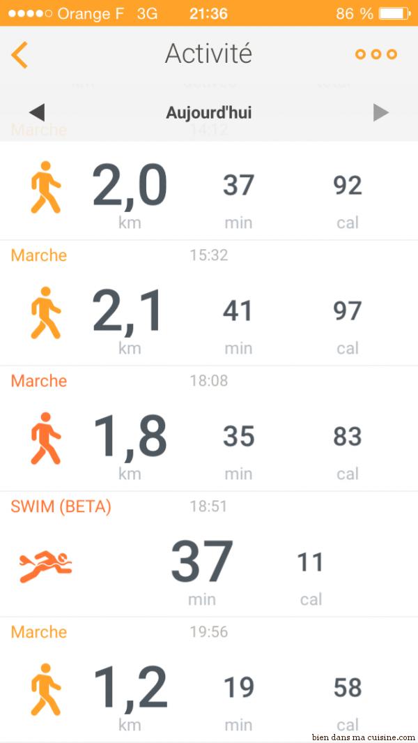 Bien vu : je n'ai nagé qu'une quarantaine de minutes, le reste du temps, aquagym et aquawalking.