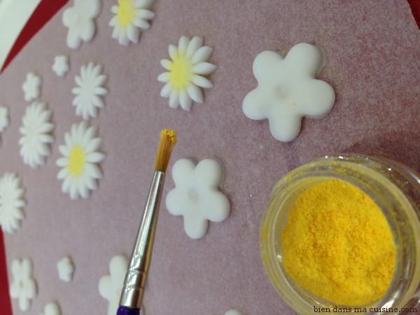 15. on applique du pigment jaune (évidemment comestible) pour faire une vraie marguerite ! Tout est dans le détail... Attention, pas trop de pigment sinon vous allez en mettre partout. Allez-y doucement, et soufflez légèrement pour éliminer le surplus.